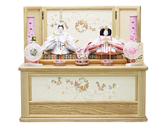 【雛人形 収納飾り 65cm コンパクト】172002 夢心京十一番親王タモ造引出式収納飾