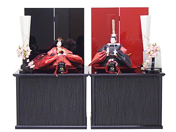 【雛人形 収納飾り 80cm】172003 ふわり【ホログラム箔 切嵌め赤黒】Cubeセパレート収納飾