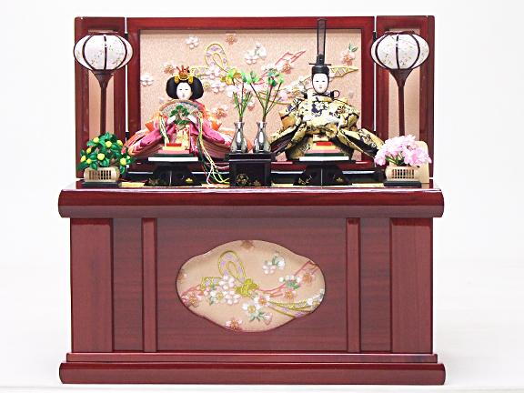 【ひな人形 収納飾り 54cm コンパクト】180016 金襴衣裳着親王綾音収納飾