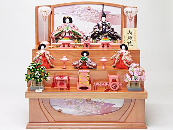 【雛人形 三段収納飾り 73cm】162005 唐織金襴衣裳着ピンク塗桐三段収納五人飾【送料無料】