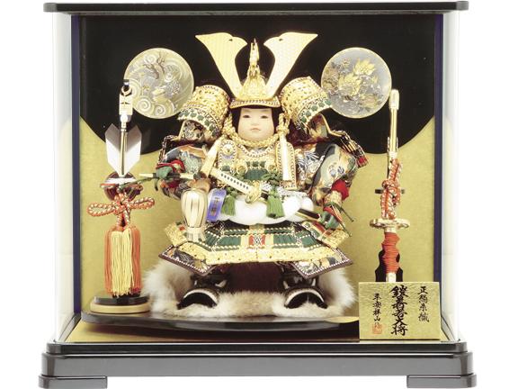 【五月人形 大将ケース】5710-B子供大将黒塗パノラマケース飾