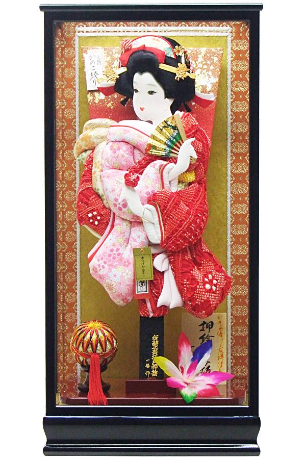 【羽子板】180001 17号 正絹かの子×友禅振袖押絵羽子板ケース飾