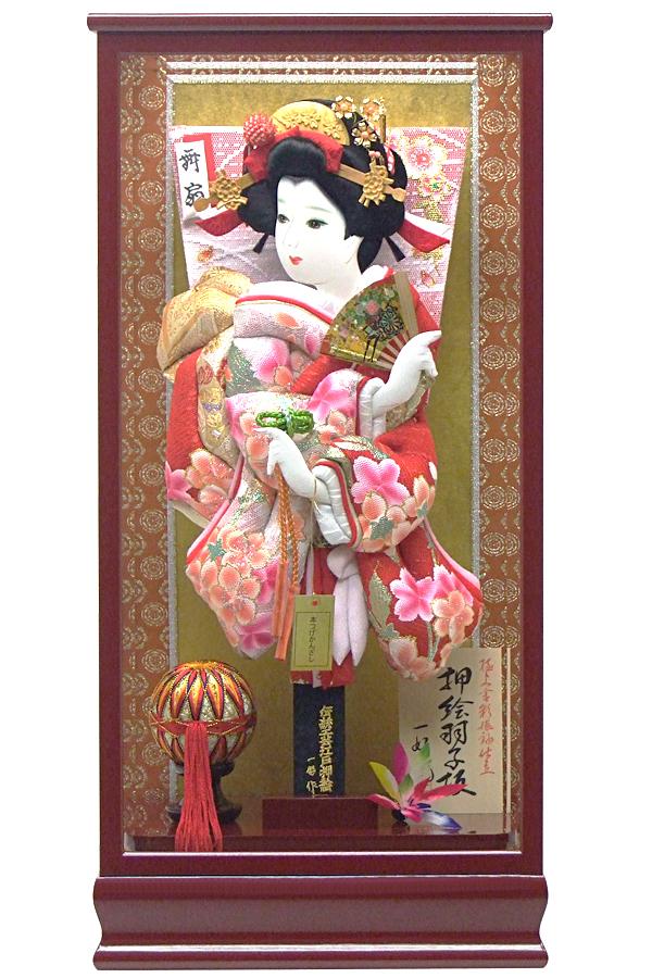 【羽子板】180005 15号 おとめ桜振袖押絵羽子板ケース飾