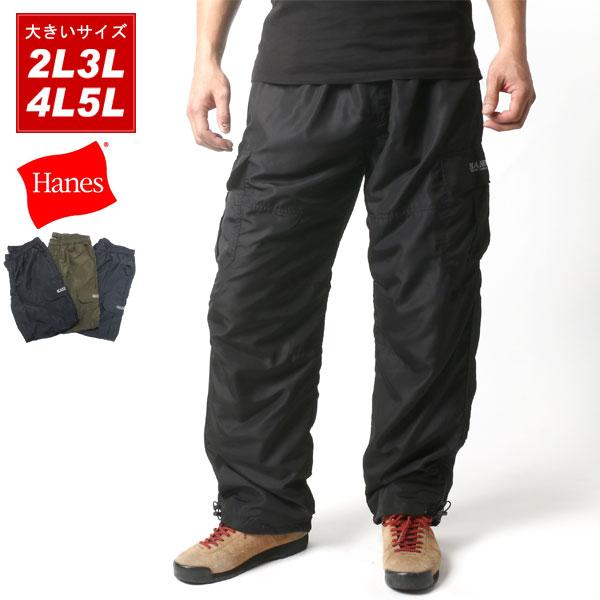 MARUKAWA: 暖麵包大的尺寸人貨物褲子Hanes[特大號2L 3L 4L 5L丸川Hanes背後針織品背後起毛