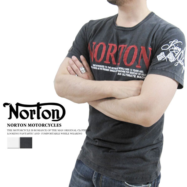 "NORTON MOTORCYCLES-Norton #32N1003 ~ cotton ~ ""logo embroidery, vintage short sleeve T shirt"