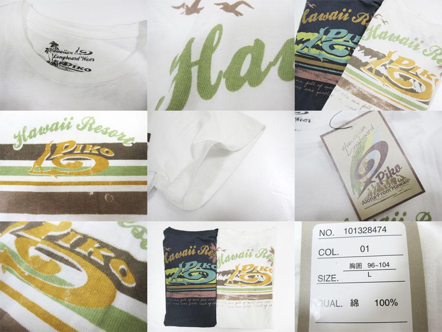 PIKO微微~印度材料~摩擦,面板边缘印刷冲浪派的短袖T恤
