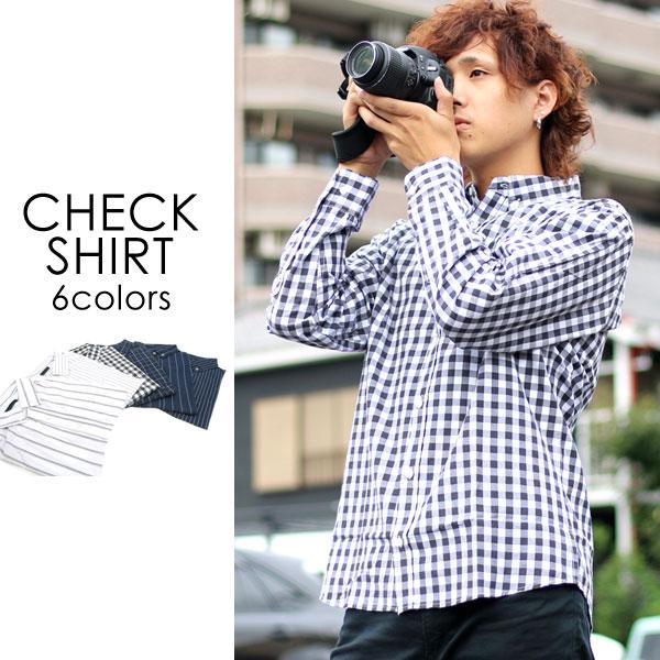 ボタンダウンシャツ メンズ 秋 チェック ストライプ 長袖 ホワイト/ブラック/ブルー/ネイビー M/L/LL<br><br>