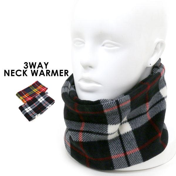 ネックウォーマー メンズ 冬 3way ブラック/レッド<br><br>