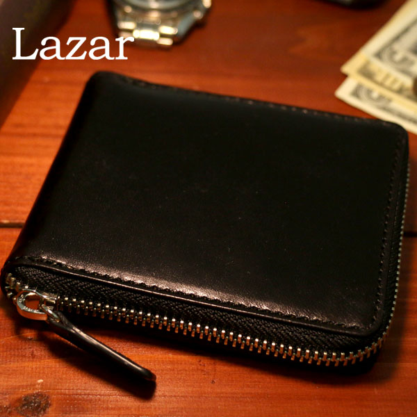全品送料無料 Lazar 二つ折り財布 メンズ 冬 本革 ブラック/ブラウン