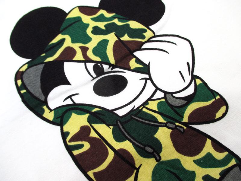 Disny/ディズニー『カモフラパーカー』ミッキープリント半袖Tシャツ11412132マルカワ