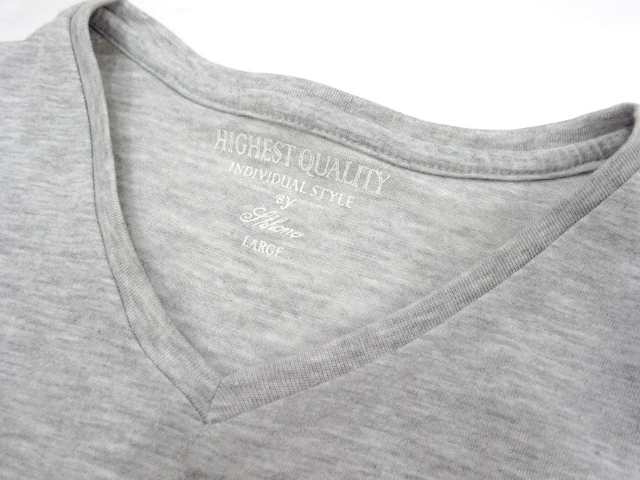 斯科 / SKKONE 25303 B ~ 棉 ~ 10 种颜色! '灰色颜色' V 脖子短袖 T 恤