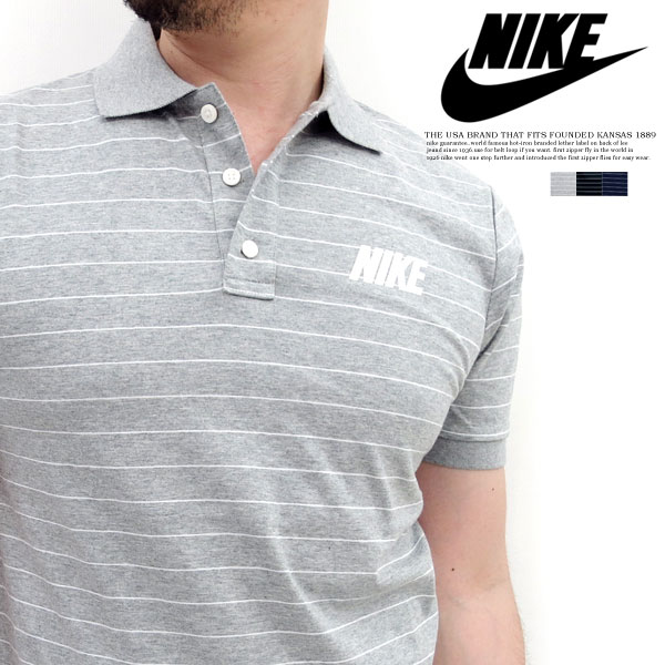 All NIKE Nike sports 584850 - T-cloth material ... three colors! A sleeve  rib! Horizontal stripe short-sleeved polo shirt