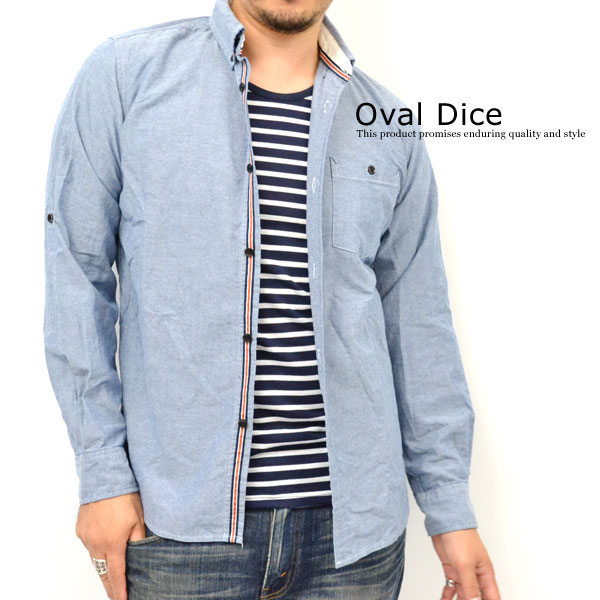 "Oval Dice / oval die Y4404-572-Oxford material-all 3 colors! ""ensemble"" border T x l/s shirt [marukawa and specialty stores and brand clothes / gentleman"