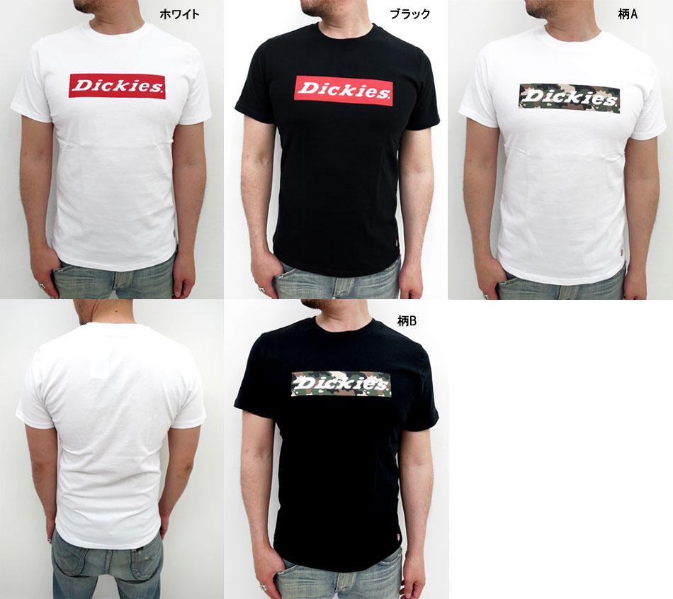 Dickies 框标志打印 T 衬衫男式短袖 [dickies 丸休闲休闲工作礼服黑色和白色的伪装以 XL LL 顶刀