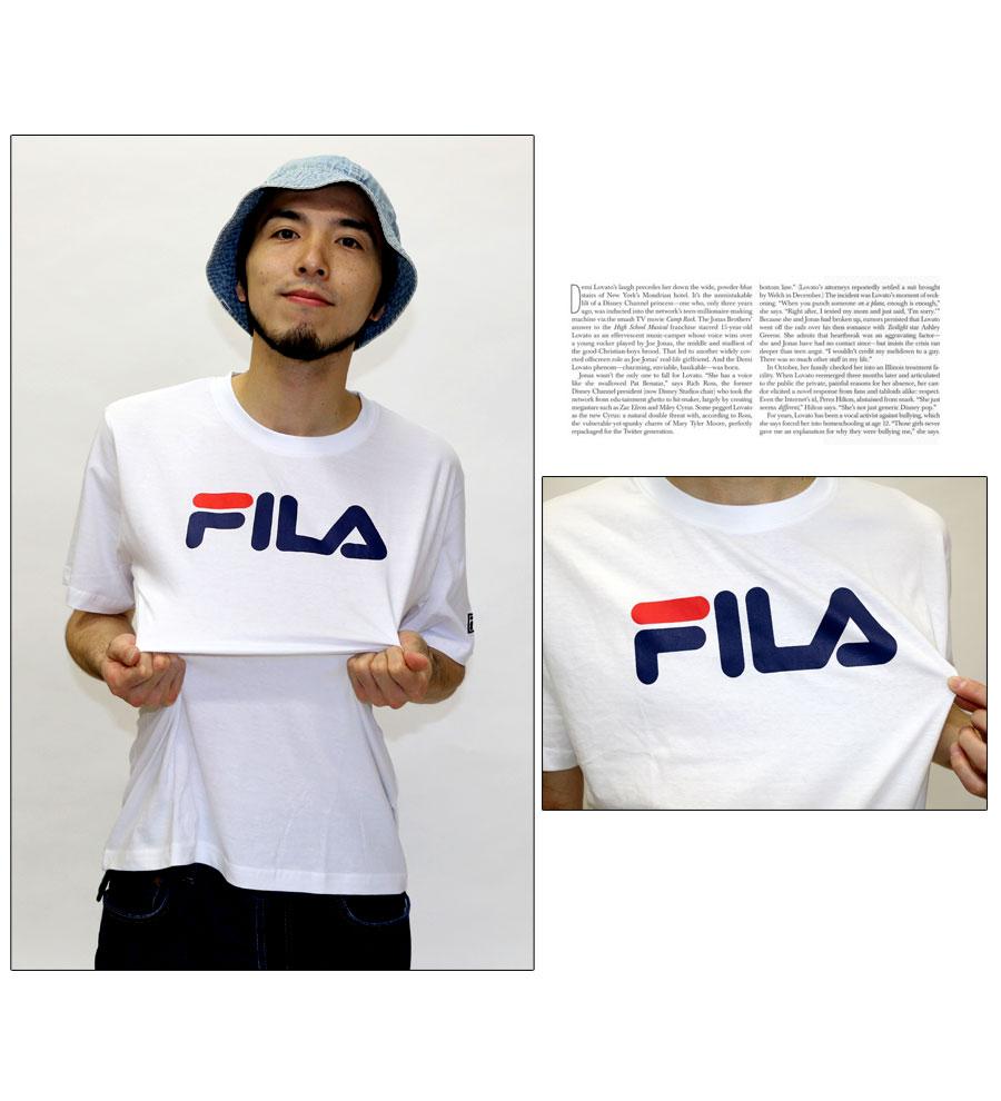 Fila T 襯衫男裝 logo 印刷 T 恤
