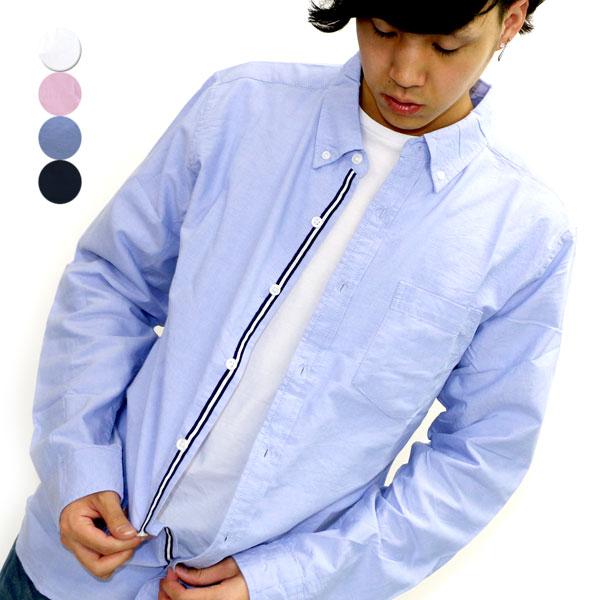有牛津衬衫人按钮降低衬衫长袖子带子