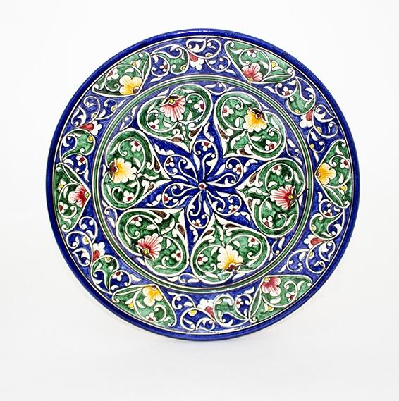 ウズベキスタンの色鮮やかなお皿です。青緑模様丸皿23cm