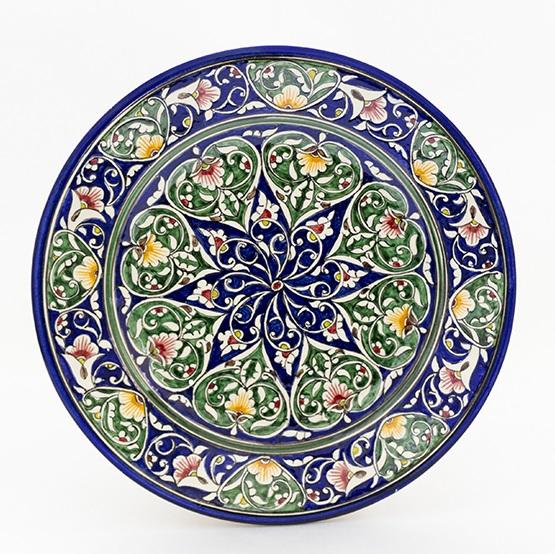 ウズベキスタンの色鮮やかなお皿です。青緑模様丸皿26cm