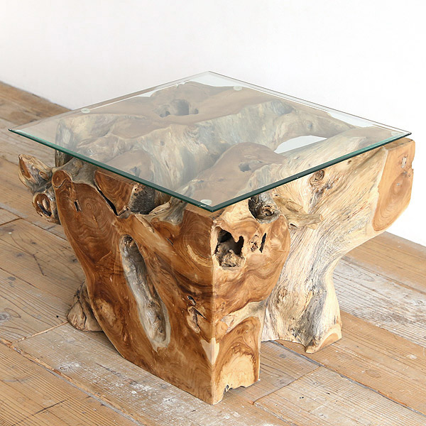 チーク×ガラス ローテーブル スクエア ガラステーブル 古材 センターテーブル 60 [ コーヒーテーブル リビングテーブル 天然木 ]【送料無料】【代引不可】