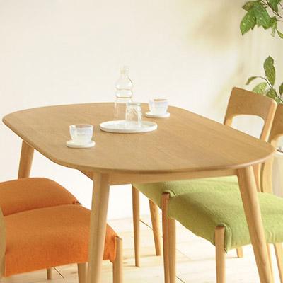 オーク 北欧] 幅150 楕円 リビング ダイニングテーブル NEWクローバー 無垢 北欧【送料無料】【テーブルのみになります。チェアは別売りです】[ダイニングテーブル 楕円 食卓 丸テーブル
