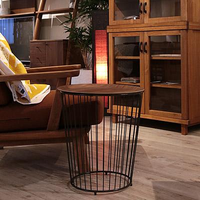 トレイ付き サイドテーブル 高さ48 円形 丸テーブルウォールナット アイアン【送料無料】【在庫限り】【即出荷可能】