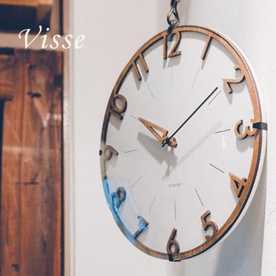 電波時計 壁け時計 おしゃれ 北欧 当店は最高な サービスを提供します 壁掛け時計 かわいい 木製 掛時計 文字盤にはウッドを添えて幅広いコーデに対応するデザイン フィッセ あす楽 数字とフレームが一体になったシンプルナチュラルなデザイン 送料無料 掛け時計 ウォールクロック Visse cl-3707-128 メーカー在庫限り品
