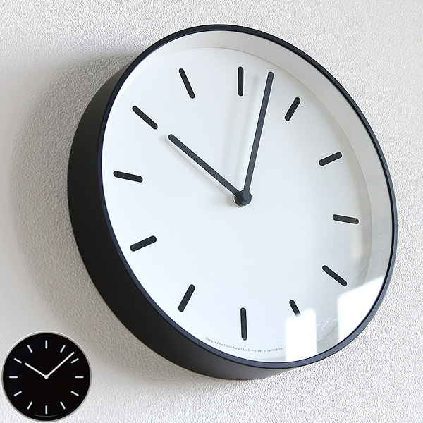 レムノス 掛け時計 MONOクロック タイプB 壁掛け時計 シンプル おしゃれ モノトーン ブラック ホワイト 【送料無料】【在庫あり分即出荷】【あす楽】