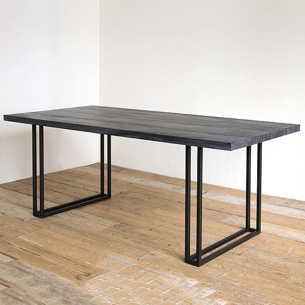 SENSO d VITA(センソ) ダイニングテーブル グレー 無垢 一枚板 幅180 モンキーポッド 4.5cm テーブル ダイニング 6人掛け対応 無垢 天然木 ブラック アイアン 黒脚 【送料無料】