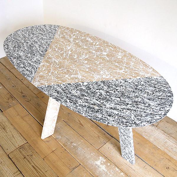 アートテーブル ダイニングテーブル 【高蔵染とマルキン家具のコラボ】楕円 テーブル オーク 無垢材 【送料無料】【アート作品のため展示1点限り】