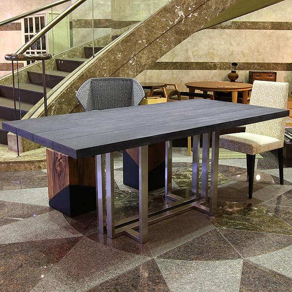 SENSO d VITA(センソ) ダイニングテーブル グレー 無垢 幅180 モンキーポッド 4.5cm テーブル ダイニング 6人掛け対応 無垢 天然木 シルバー ステンレス 脚 【送料無料】