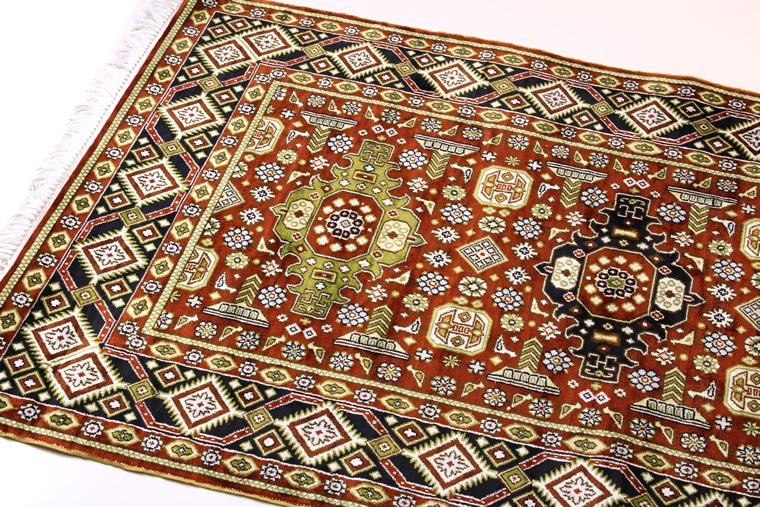 ペルシャ絨毯 & ギャベ (ギャッベ) キリム series じゅうたん 手織り 高級 玄関マット ラグ シルク 緞通 室内用 送料無料 #001 約 92×153 cm