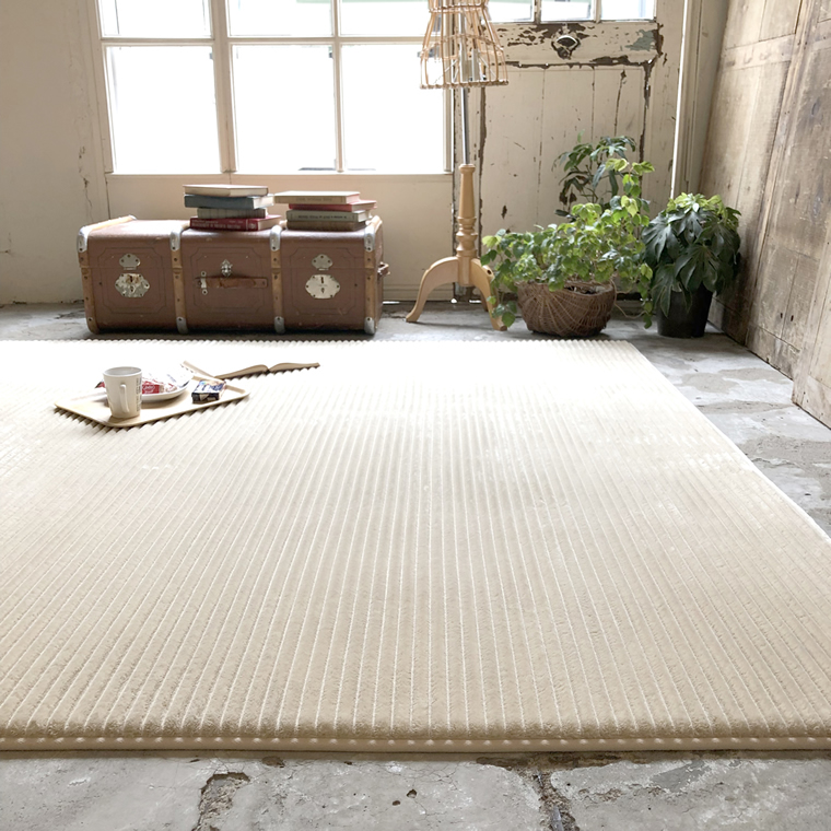 ラグ 洗える ストライプ ラグマット カーペット防音 洗えるウレタン+高反発ウレタン グレー北欧 モダン 絨毯 床暖房 ホットカーペット 対応サイズ:約 190×240 cm 約 3畳