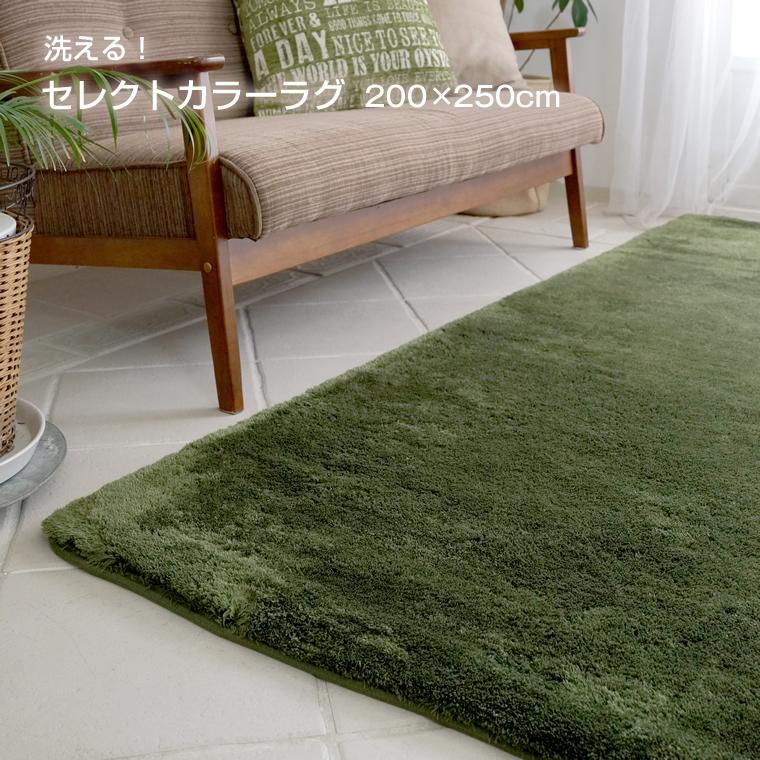 ラグ 洗える ラグマット カーペット おしゃれ 北欧 モダン 絨毯 夏用 冬用 床暖房 ホットカーペット 対応 グレー グリーン など 約 200×250 cm 3畳