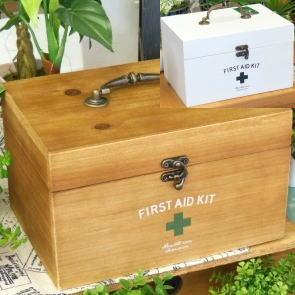 保障 送料無料 全店販売中 アンティークウッドの救急箱 ファーストエイドボックス BR WH