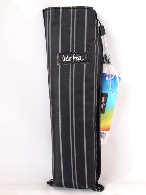 公式ショップ メール便で送料無料 超激安特価 大きめサイズの携帯傘 ポケフラット55 紳士ストライプ ブラック