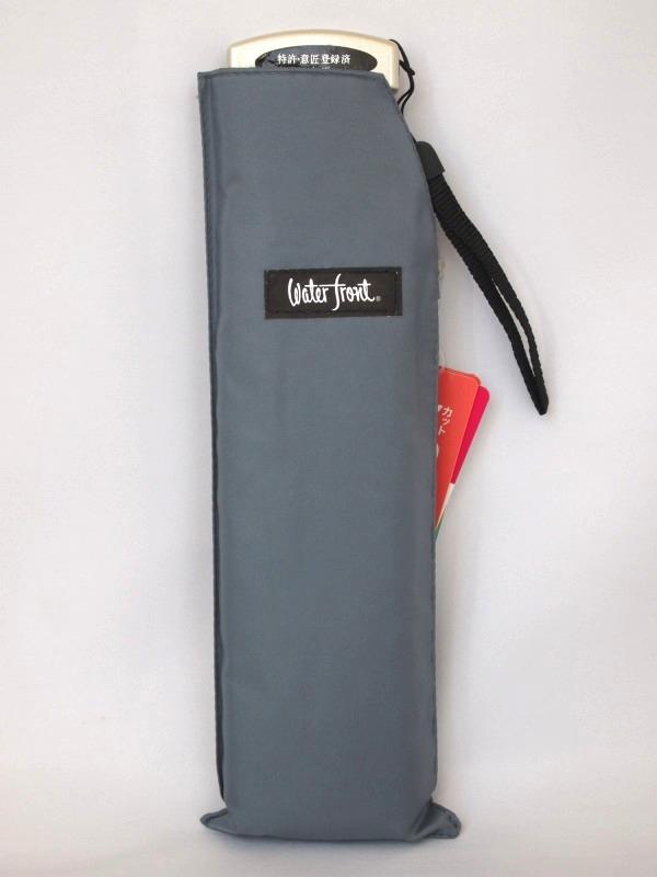 大判サイズの折り畳み傘!大きめ晴雨兼用折りたたみ傘!ポケフラット55無地【グレー】 ※メール便可