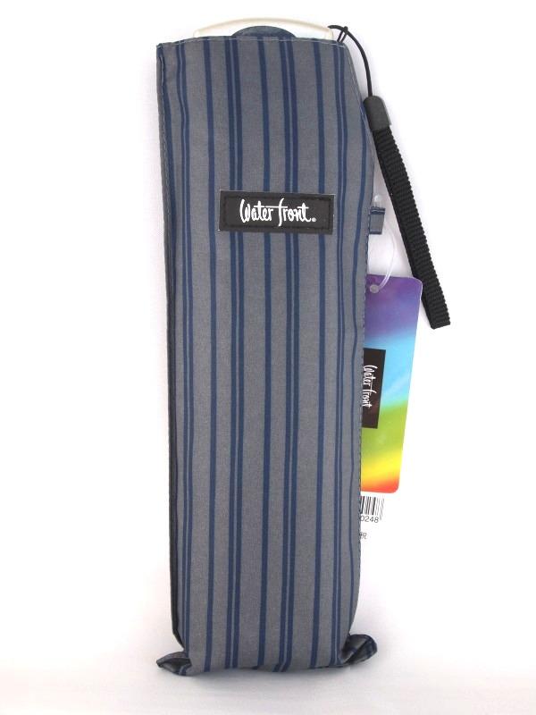メール便で送料無料 店舗 アウトレット 大きめサイズの携帯傘 ポケフラット55 紳士ストライプ グレー