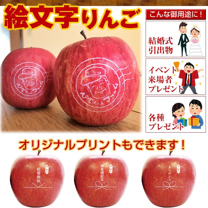 絵文字りんご 1ロット100玉~ 山形 りんご 林檎 ringo 産直 ご贈答 ギフト _のし _メッセ入力