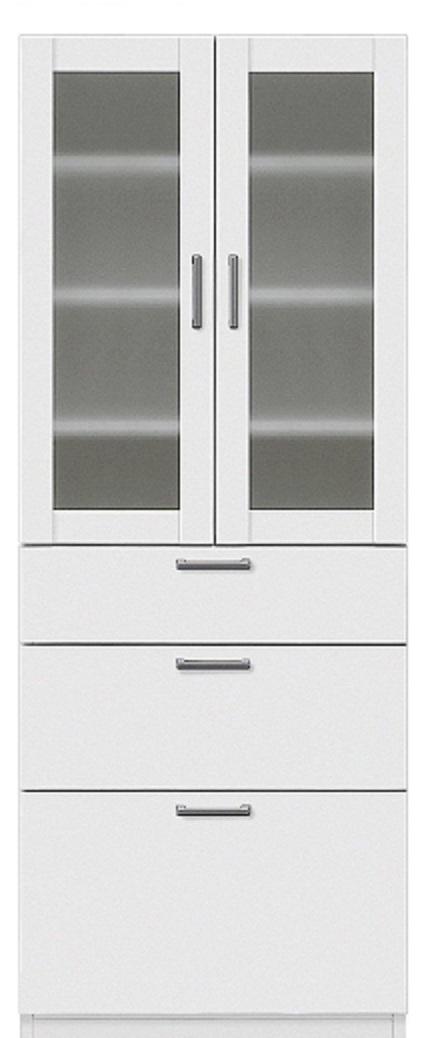 食器戸棚 キッチンボード 収納家具 完成品 ベーグル 60食器棚 ホワイト 開梱設置・送料無料(関東圏)