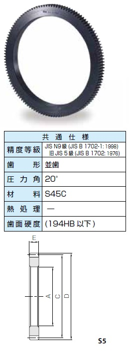 KHK リングギアSSRシリーズ モジュール3【SSR3-120】販売単位:1個 JAN[-](KHK 歯車)小原工業(株)【05P03Dec16】