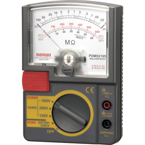 SANWA アナログ絶縁抵抗計 500V/250V/125V【PDM5219S】 販売単位:1個(入り数:-)JAN[4981754043689](SANWA 電気測定器) 三和電気計器(株)【05P03Dec16】