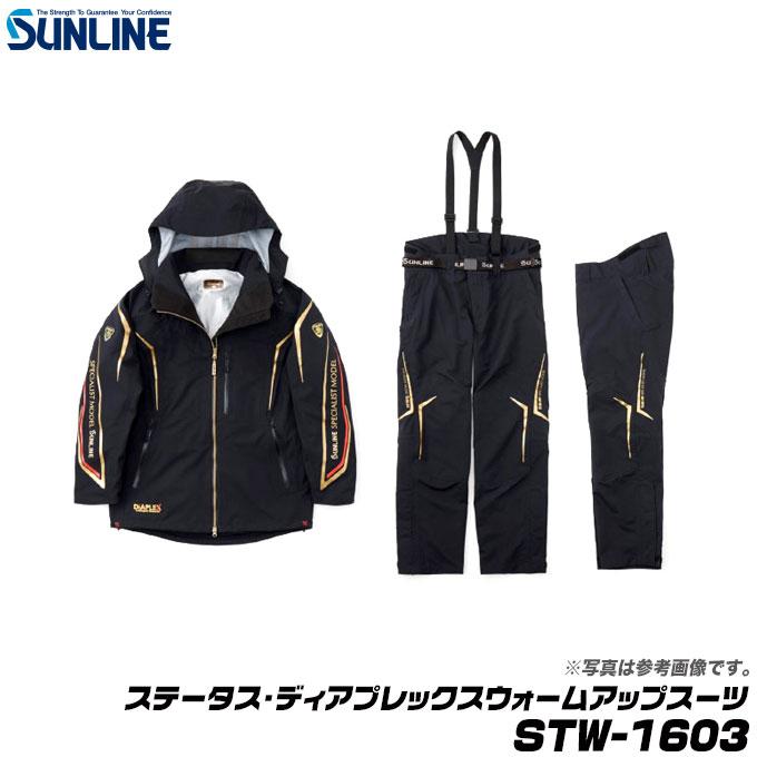 (5)【送料無料】 サンライン ステータス・ディアプレックスウォームアップスーツ STW-1603 (カラー:ブラック)(サイズ:LL) /防寒着/上下セット /釣り/ウィンターウェア/SUNLINE/1s6a1l7e-wear