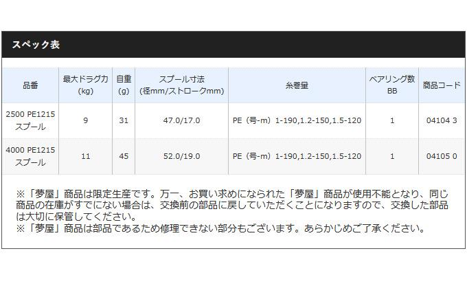 (c)【取り寄せ商品】シマノ 夢屋 19 カスタムスプール (4000 PE1215スプール) エクスセンスカラー /C スプール/夢屋/リールカスタムパーツ/スプール /SHIMANO