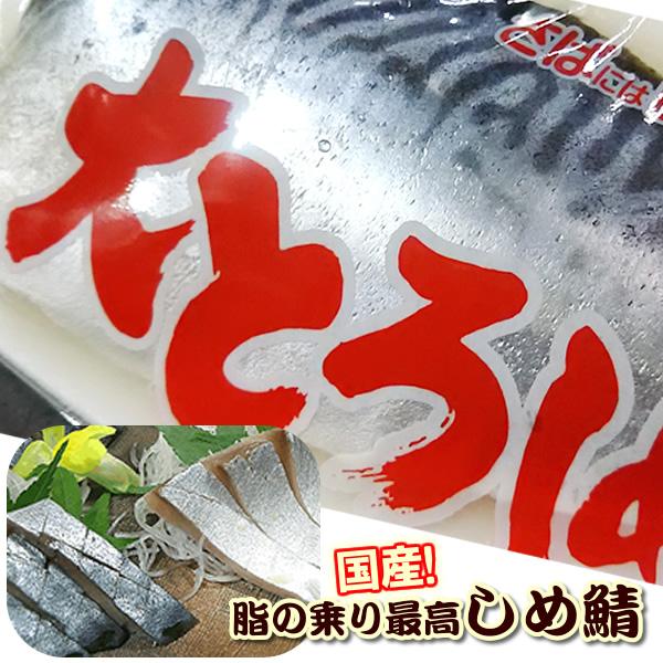 神戸中央卸売市場から各種ご贈答 ギフトに 農林水産大臣賞受賞 セール 大トロしめさば 国産の真サバ 1枚 しめさば 〆鯖 しめ鯖 ギフト キズシ きずし用 鯖寿司用
