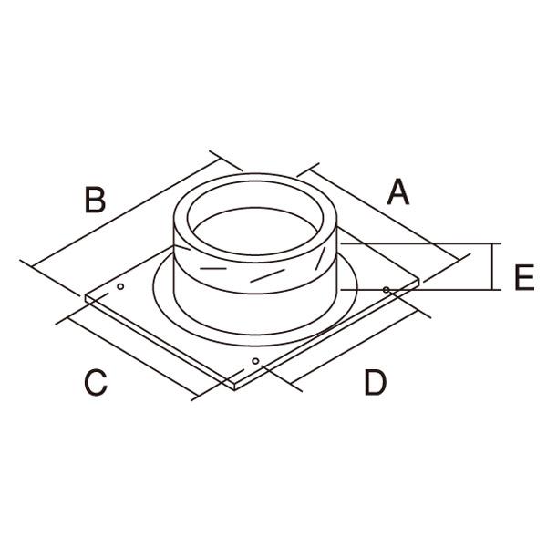 【アンデルセンチムニー】SRC 2重断熱煙突(内筒径150mm用) 『ウォールサポートベース プレーン』