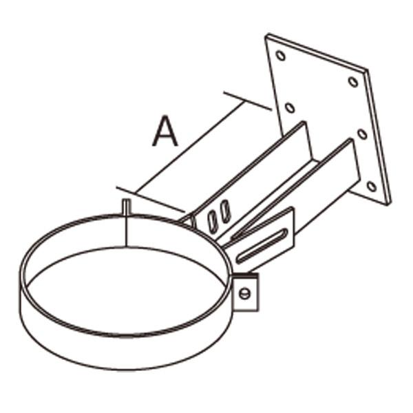 【アンデルセンチムニー】SRC 2重断熱煙突(内筒径150mm用) 『鼻隠しステー0~45° マットブラック』