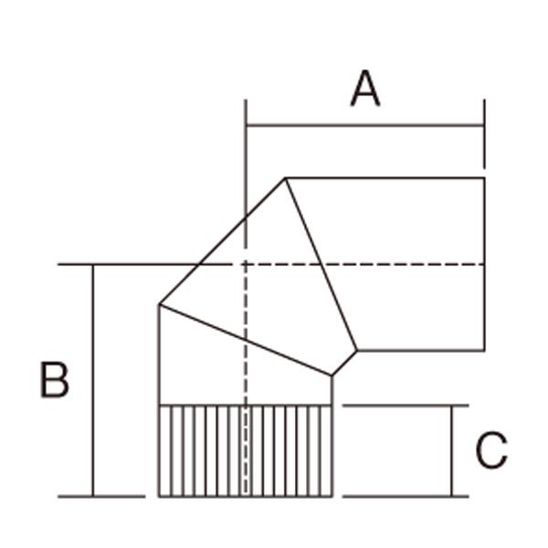 【アンデルセンチムニー】室内用煙突(筒径152mm) 『90°曲り 耐熱焼付黒塗装』