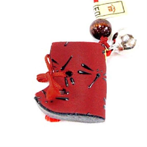甲州印伝 印傳屋 上原勇七 のねつけ ブーツ アウトレット☆送料無料 贈答 5101-3-008 赤地に黒漆のとんぼ柄 赤×黒 小銭入れ がま口 財布などに付けるとかわいいですよ 印伝 根付 とんぼ レザー ストラップ 5101 赤地×黒漆 和柄 YM02 レディース ブランド 女性用 本革 鹿革
