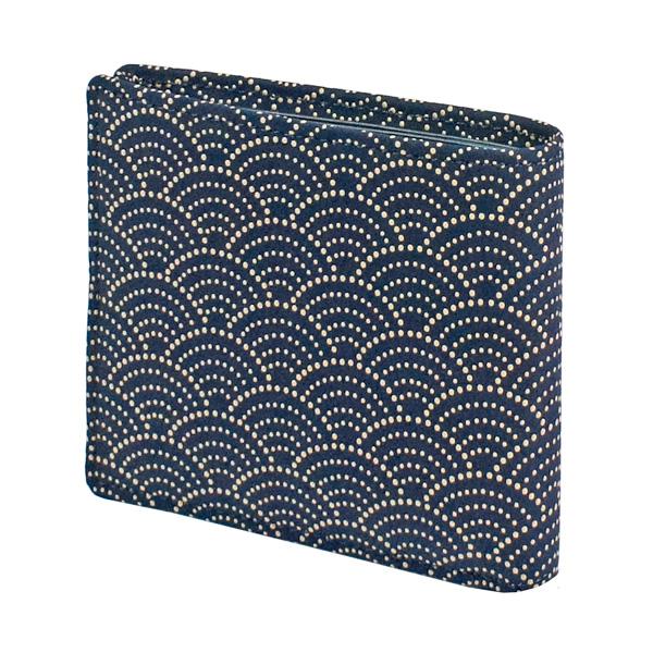 印伝 【甲州印伝・印傳屋】財布・二つ折り・二つ折り財布【2005】【青海波】【紺地×白漆】【男性用・メンズ】【和柄】【YM01】