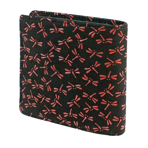 印伝 【甲州印伝・印傳屋】財布・二つ折り・二つ折り財布【2008】【とんぼ】【黒地×赤漆】【男性用・メンズ】【和柄】【YM01】